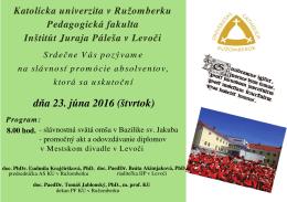 Pozvánka na promócie absolventov IJP