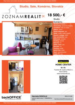 18 500 - Real Estate Slovakia
