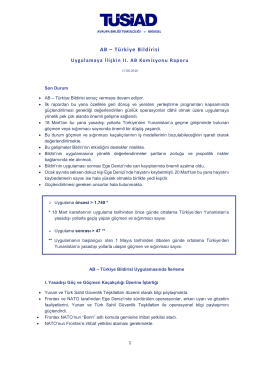 AB – Türkiye Bildirisi II. Uygulama Raporu