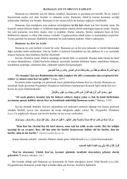 RAMAZAN AYI VE ORUCUN FAZİLETİ Ramazan ayı müminler için
