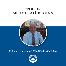 Tanıtım Kitapçığı - Prof. Dr. Mehmet Ali Beyhan