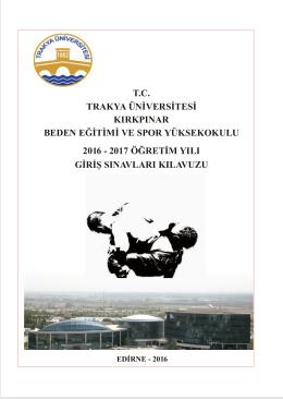 tc trakya üniversitesi kırkpınar beden eğitimi ve spor yüksekokulu 2016