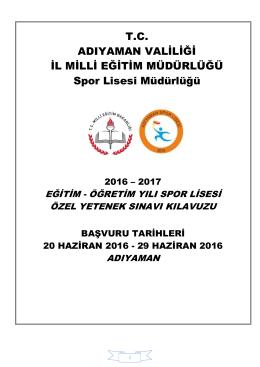 2016-2017 Spor Lisesi Kayıt Takvimi. - Adıyaman Spor Lisesi