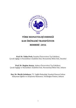 türk neonatoloji derneği kan ürünleri transfüzyon rehberi -2016