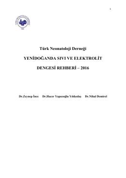 Türk Neonatoloji Derneği YENĠDOĞANDA SIVI VE ELEKTROLĠT
