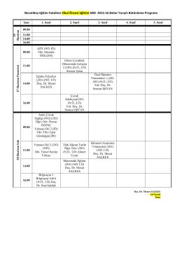 Necatibey Eğitim Fakültesi Okul Öncesi Eğitimi ABD 2015