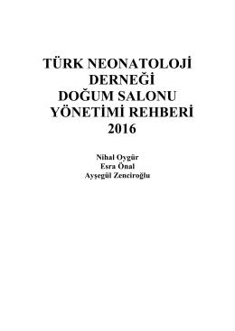 türk neonatoloji derneği doğum salonu yönetimi rehberi 2016