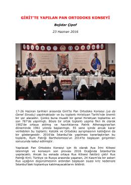 girit`te yapılan pan ortodoks konseyi