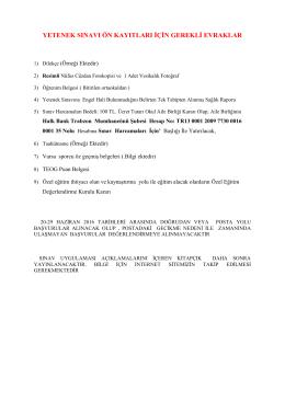 Yetenek Sınavı Ön Kayıt Belgeleri