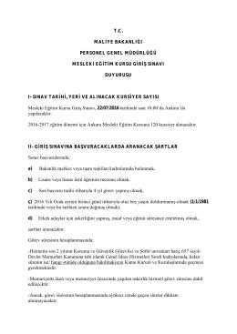 Kurs Duyurusu - Personel Genel Müdürlüğü