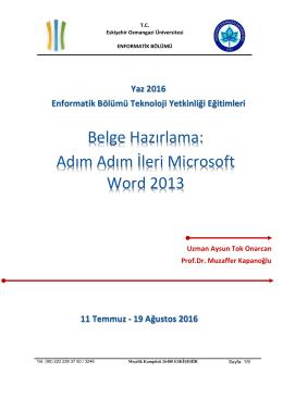 Adım Adım İleri Microsoft Word 2013