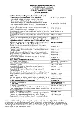 2016-2017 Akademik Takvim - Yabancı Diller Yüksekokulu