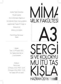 A3 Duyuru Posteri - İTÜ Mimarlık Fakültesi