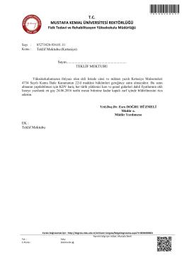 Teklif Mektubu (Kırtasiye) - Mustafa Kemal Üniversitesi