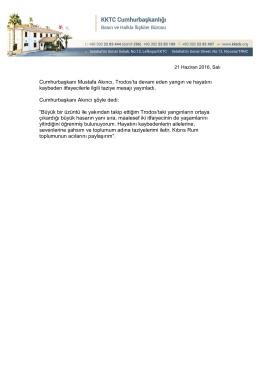 Cumhurbaşkanı Mustafa Akıncı, Trodos`ta devam eden yangın ve