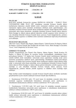 türkiye basketbol federasyonu disiplin kurulu karar