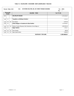 1.2 gelirlerin ekonomik sınıflandırılması tablosu 05.2016