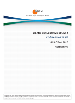 lisans yerleştirme sınavı-4 coğrafya