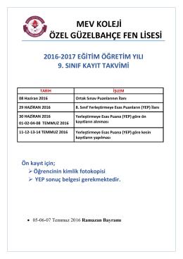 2017 fl kayıt takvimi - MEV Koleji Özel Güzelbahçe Okulları