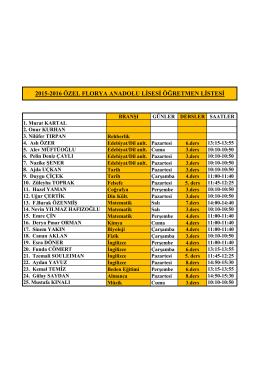 2015-2016 özel florya anadolu lisesi öğretmen listesi