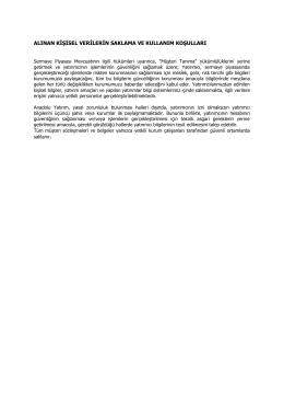 alınan kişisel verilerin saklama ve kullanım koşulları