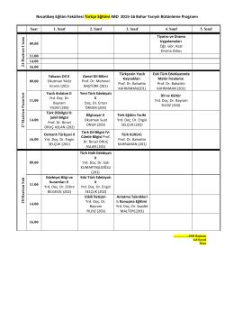 Necatibey Eğitim Fakültesi Türkçe Eğitimi ABD 2015