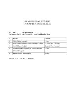 YDUS Başvuru Evrakları - Uludağ Üniversitesi Tıp Fakültesi