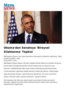 Obama`dan Senatoya `Bireysel Silahlanma` Tepkisi
