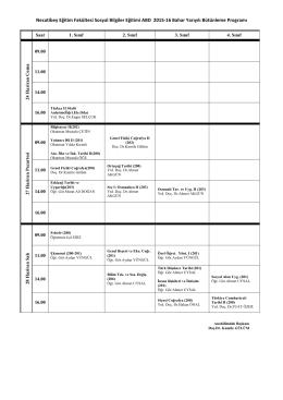 Necatibey Eğitim Fakültesi Sosyal Bilgiler Eğitimi ABD 2015