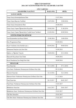 siirt üniversitesi 2016–2017 eğitim-öğretim yılı akademik takvimi güz