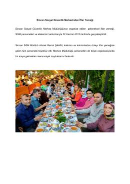 Sincan SGM Personelleri İftar Yemeğinde Buluştu