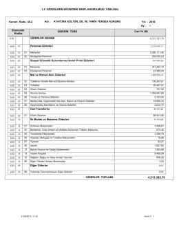 1.4 GİDERLERİN EKONOMİK SINIFLANDIRILMASI TABLOSU
