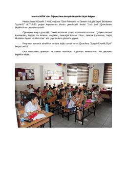 Mersin SGİM` den Öğrencilere Sosyal Güvenlik Elçisi Belgesi