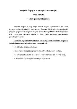 Nevşehir Ürgüp 2. Etap Toplu Konut Projesi (405 Konut
