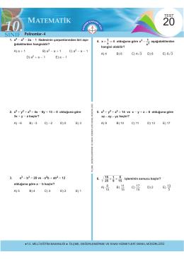 Polinomlar - 4 - Ölçme, Değerlendirme ve Sınav Hizmetleri Genel