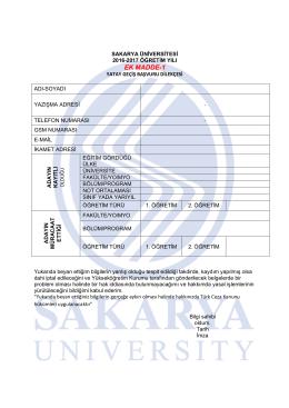 ek madde-1 - Sakarya Üniversitesi