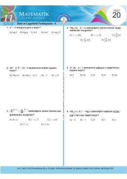 Üstel ve Logaritmik Fonksiyonlar - 4
