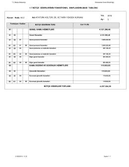 1.7 bütçe giderlerinin fonksiyonel sınıflandırılması tablosu 01