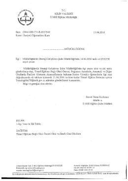 Page 1 T.C. KİLİS VALİLİĞİ İ1 Millî Eğitim Müdürlüğü Sayı