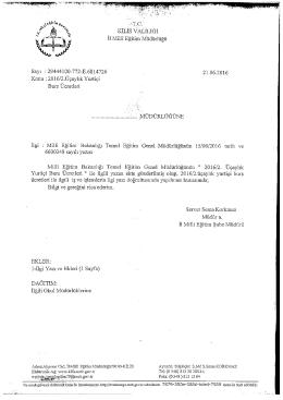 Page 1 KİLİS VALİLİĞİ İl Millî Eğitim Müdürlüğü Sayı : 29444100