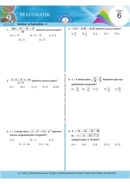 Denklem ve Eşitsizlikler - 4 - Ölçme, Değerlendirme ve Sınav