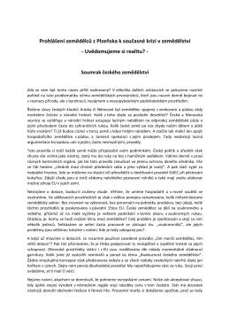 Prohlášení zemědělců z Plzeňska k současné krizi v zemědělství
