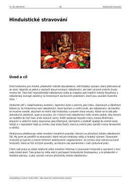 Hinduistické stravování - Hospodářská a kulturní studia