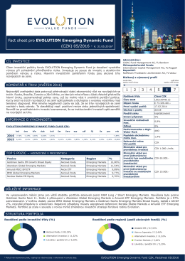 Fact sheet pro EVOLUTION Emerging Dynamic Fund (CZK) 05/2016