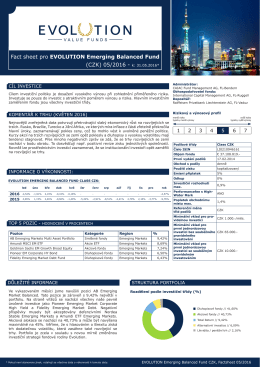 Fact sheet pro EVOLUTION Emerging Balanced Fund (CZK) 05/2016