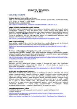 Newsletter města Krnova 20. 6. 2016
