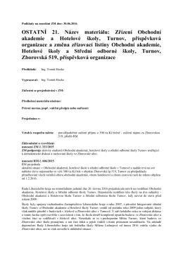 Zřízení Obchodní akademie a Hotelové školy, Turnov
