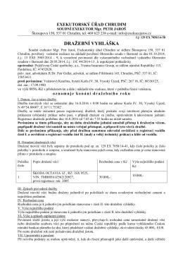 Dražební vyhláška čj. 129 EX 7058/14-58