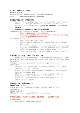 KIWI KEMP - Sraz Registrace/ Postup: Nutné pokyny pro účastníky