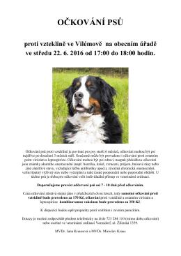 Očkování psů proti vzteklině na obecním úřadě Ve Vilémově